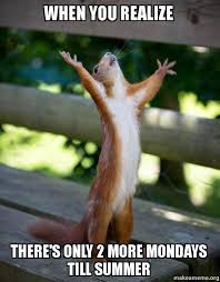 Mondays Meme - when you realize there s only 2 more mondays till summer happy