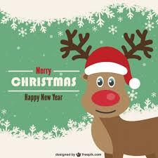 vintage christmas card reindeer vector free download