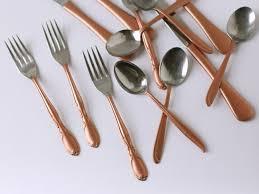 copper gilded flatware