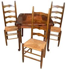 expandable game table game table by ethan allen with ladderback rush seat chairs ebth