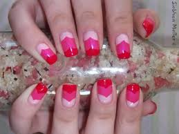 entry valentine u0027s nail art u2013 layered chevrons in pink simple