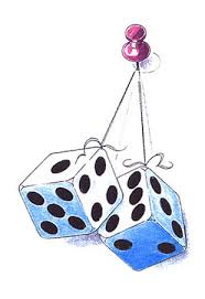 pair of dice tattoo hanging from a pin tattoosk