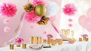 bridal shower centerpiece ideas pink and gold bridal shower decorations idea party city