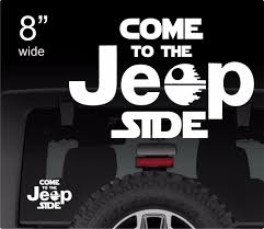 black jeep ace family come to the jeep side decal star wars vinyl sticker dark side geek