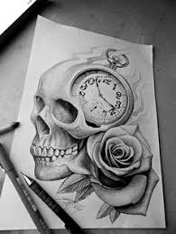 skull with roses s tatting and