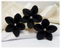 black flower black flower black hair flower black flower hair pins
