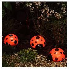 Ladybug Solar Garden Lights - set of 3 large solar power ladybird bug lights string garden lamps
