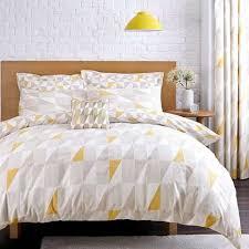 skandi geometric yellow reversible duvet cover and pillowcase set