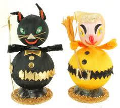 vintage halloween figurine decorations round ball black cat
