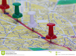 Map A Route Pinned Route On Map Royalty Free Stock Photography Image 9925087