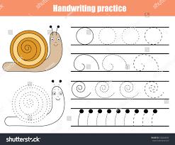 handwriting practice sheet educational children game stock vector