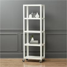 go cart white five shelf rolling bookcase cb2