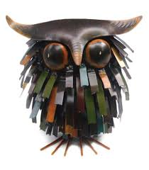 blue handworks spiky owl sitter sculpture outdoor