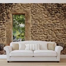 wall mural photo wallpaper xxl stone wall door tree shade 10502ws image is loading wall mural photo wallpaper xxl stone wall door