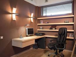 Floating Office Desk Brown Wall Color With Wooden Floating L Shaped Desk For Small