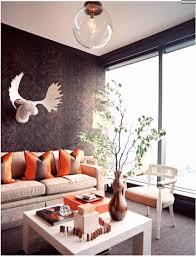 Wohnzimmer Design Wandgestaltung Originelle Wandgestaltung Braune Tapeten Wohnzimmer Orange Deko
