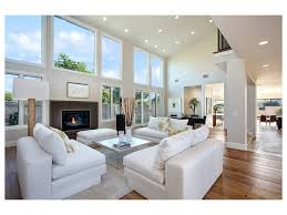 Wall Decor For High Ceilings by Wood Lamp Light Hardwood Floors White Walls Transitional Style
