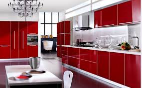 modern sleek kitchen design sleek kitchen cabinets in red kitchen design with white floor