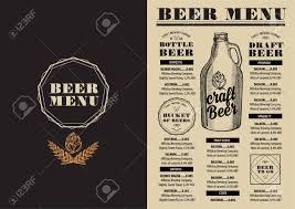 beer menu placemat food restaurant brochure template design