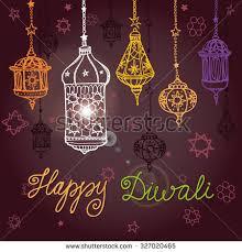 happy diwali festivaltraditional hanging l doodle stock vector