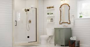 create customize your bathrooms neutral chic suite the home depot small space bathroom