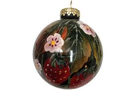 painted ornament glass strawberry