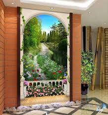 3d wall murals idecoroom 3d arch flower tree lane corridor entrance wall mural decals art prints wallpaper 005