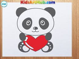 how to draw valentine day panda with heart youtube