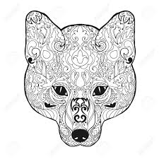fox head antistress coloring page black white hand drawn