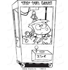 vector of a cartoon boy stuck in a toy machine coloring page