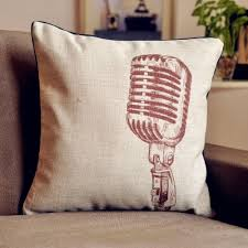 vintage retro microphone cushion cover linen pillow cushion for