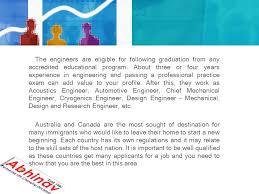 Mechanical Engineers immigrate to Australia and Canada The