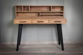 bureau bois recyclé bureau en vieux teck recyclé piètement métal meuble bureau