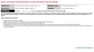 schengen visa appointment system customer care rep cover letter