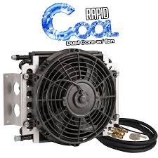 oil cooler with fan rapid cool dual core transmission oil coolers w fan