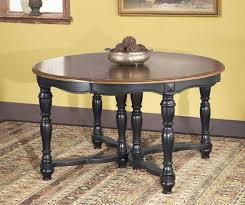 furniture black wooden expandable round dining table with brown