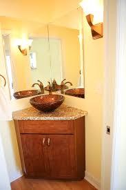 corner bathroom mirror corner bathroom vanities powder room with chocolate cabinets within