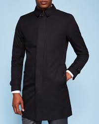 cotton blend mac black jackets and coats ted baker uk