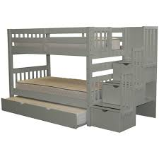 Bunk Bed With Steps Bedz King Stairway Grey Wood Twin Bunk Bed With 3 Drawer Step