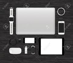 gadgets du bureau vue du haut de gadgets technologiques d identité de marque maquette