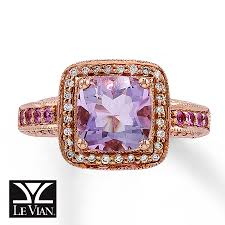amethyst engagement ring custom by jared le vian amethyst ring 1 5 ct tw diamonds 14k gold