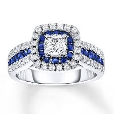 sapphire engagement rings sapphire engagement ring 7 8 ct tw diamonds 14k white gold