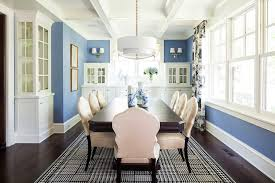 good looking crystorama in dining room transitional with blue