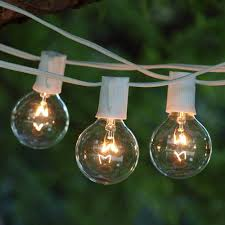 50 ft white c9 string light with g50 clear bulbs