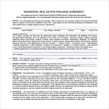 sample real estate purchase agreement template 9 free documents