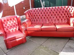 sofa lovely used chesterfield leather small monks style piece