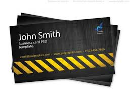 Business Card Design Psd File Free Download Business Card Template Construction Hazard Stripes Theme Psd File