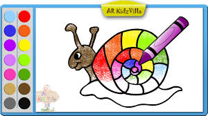 learn colors for kids and color rainbow snail coloring page pt