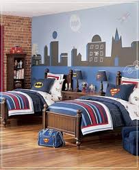 bedroom batman bedroom ideas using wallpaper and grey bedding for