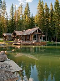 One Story Log Cabins Lake Cabin Houzz